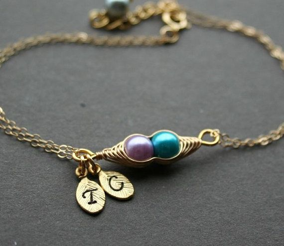 Gold Pea Pod Bracelet Gift For Mom Sister