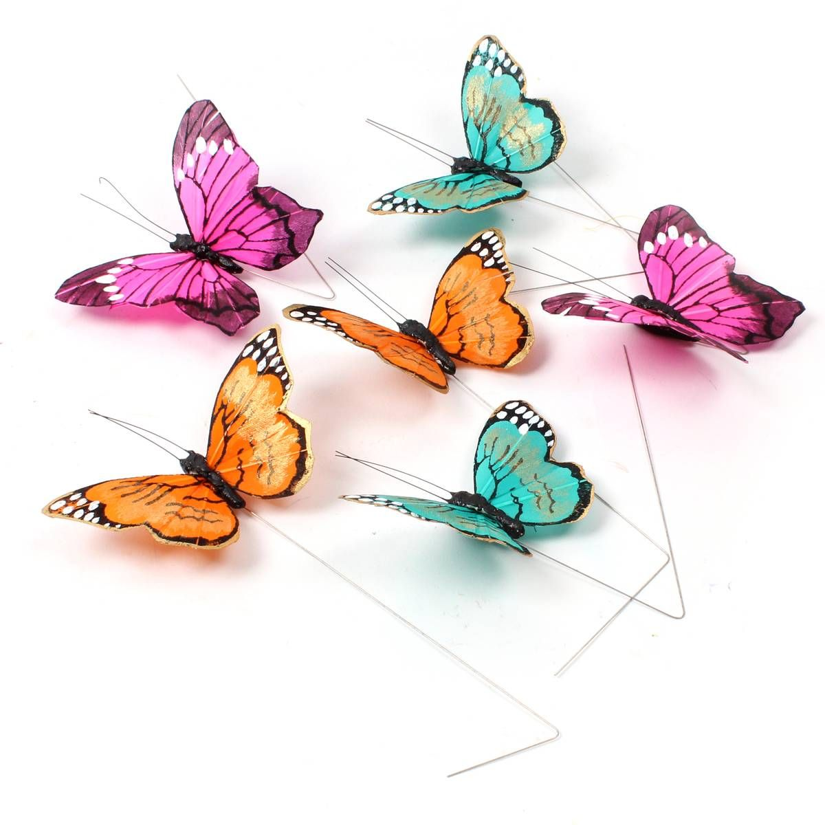 Multi Coloured Butterflies On A Wire 6 Pieces Hobbycraft Accents