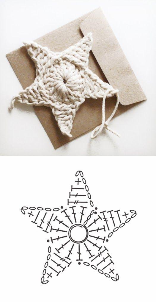Crochet Star - Chart ❥ 4U // hf ❥Teresa Restegui http://www.pinterest.com/teretegui/❥
