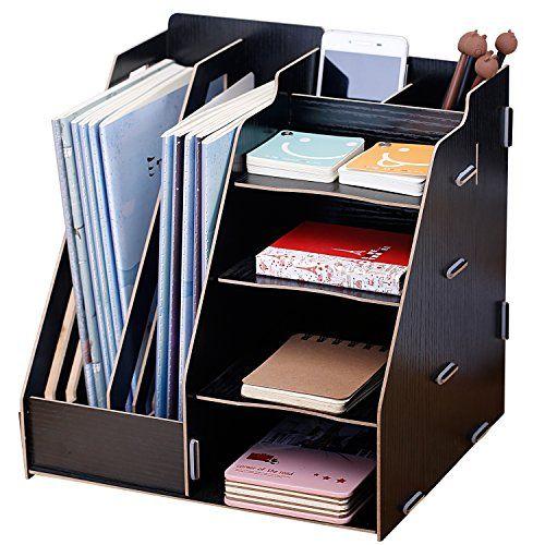 Wood Board Desktop Organizer Rack W 2 Doent Magazine Slots Shelf Office Supply Holder Black