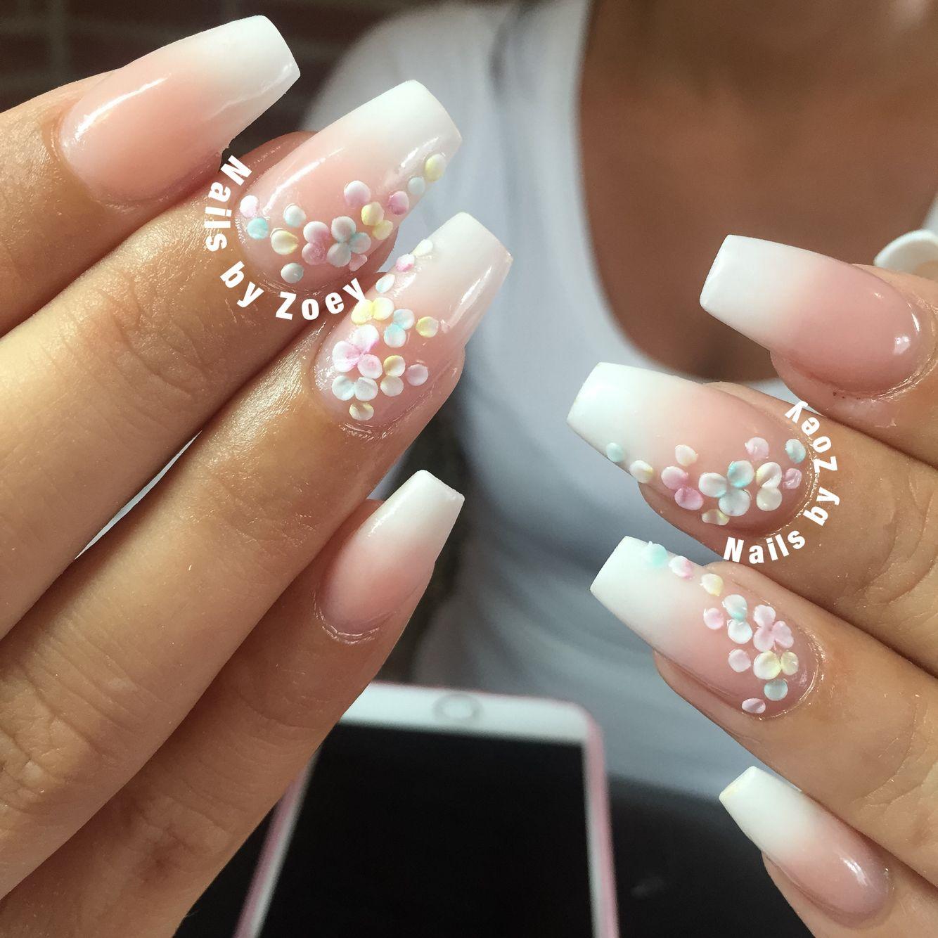 3D nails art babyboom nails ombre acrylic gel | Nail Art, | Pinterest