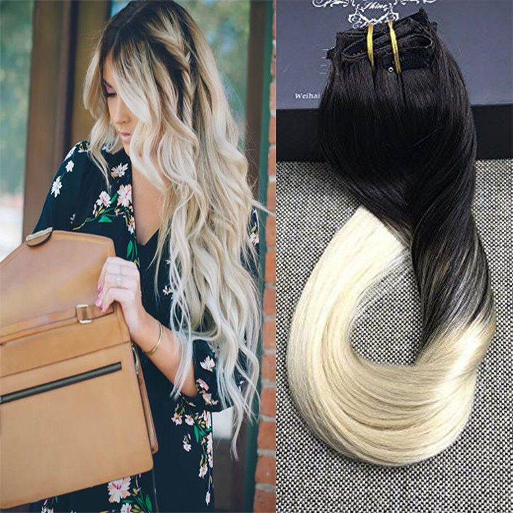 Clip In Extensions 100 Remy Human Hair 10 Pieces Balayage 1b613