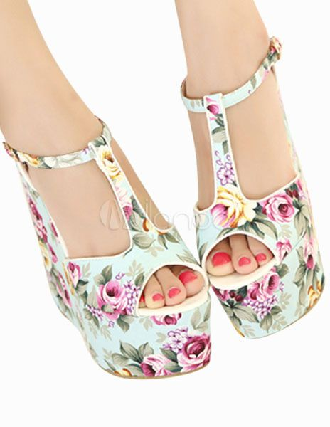 Elegant Peep Toe Stylish Fashion Wedge Shoes - Milanoo.com