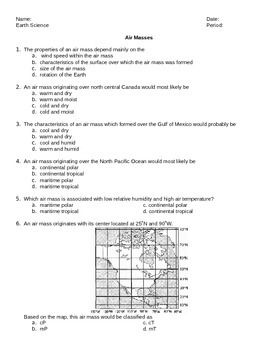 worksheet air masses editable earth science regents. Black Bedroom Furniture Sets. Home Design Ideas