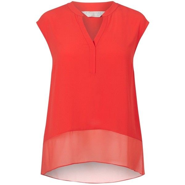 Windsmoor Textured Blouse, Bright Orange (€35) ❤ liked on Polyvore featuring tops, blouses, plus size sheer tops, plus size sleeveless tops, transparent blouse, plus size womens blouses and see through blouse