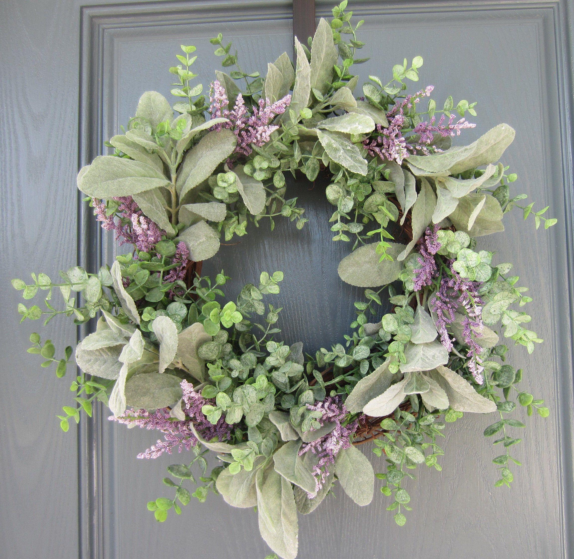 "Photo of Lavender and Green Peasant Wreath | 14 ""basis farmhouse wreath | year-round wreath | inner wreath | front door wreath"