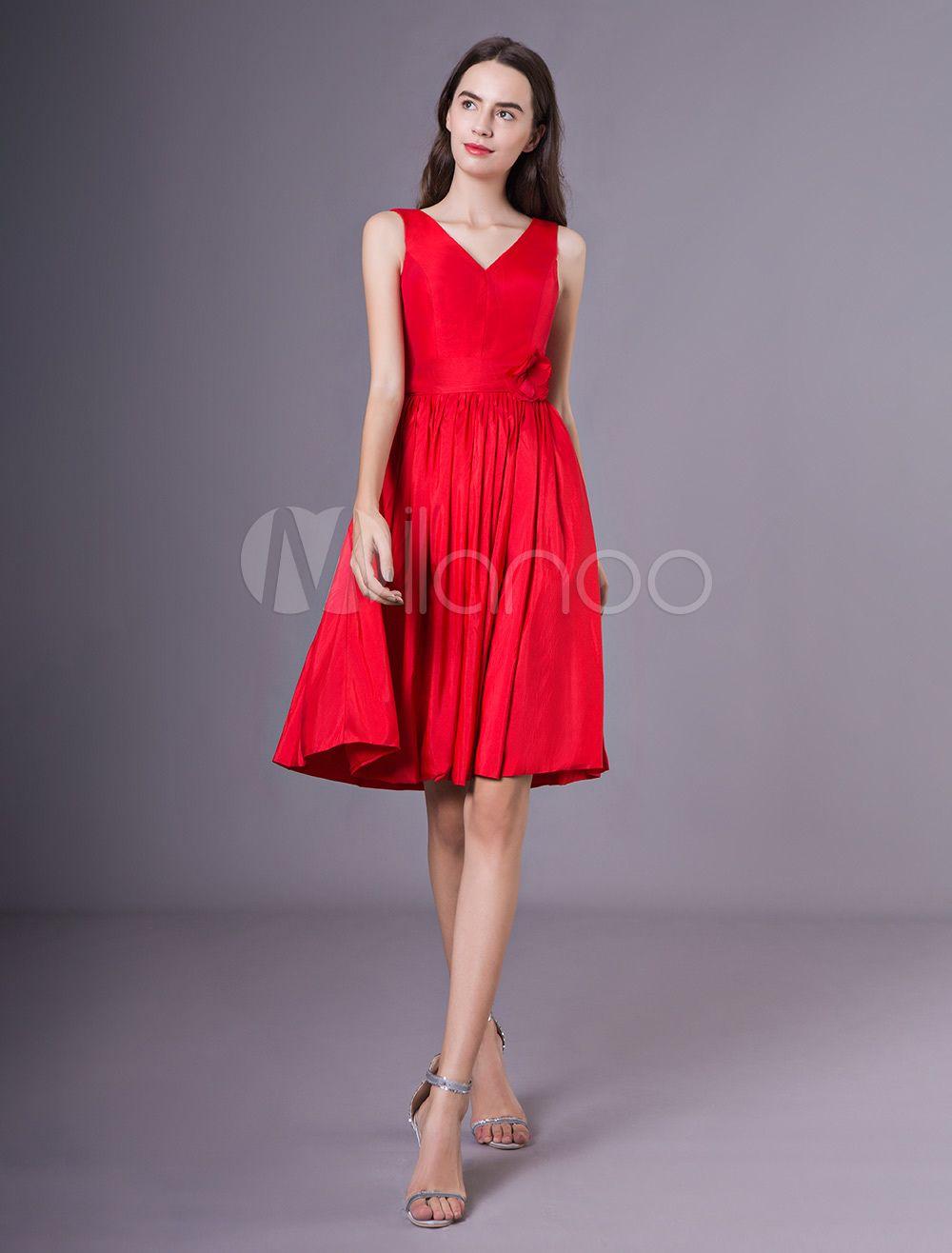 119997c38ba9 Cocktail Party Dresses Red V Neck Taffeta Flower Wedding Guest Dress ...