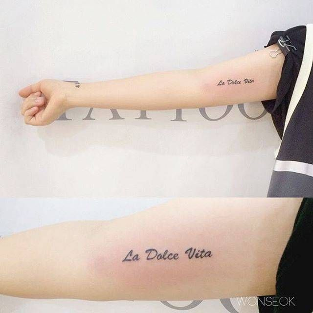 """La Dolce Vita"" Tattoo On The Right Inner Arm. Tattoo"