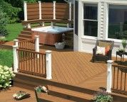 Deck Design With Corner Hot Tub And Railing Picture