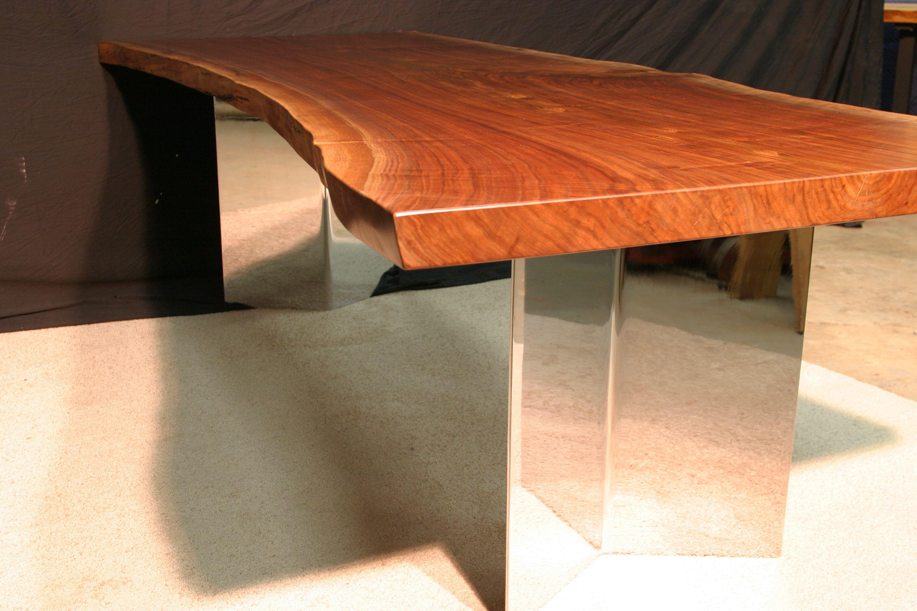 Wood slab table legs - Wood Slab Aluminum Table Legs Google Search