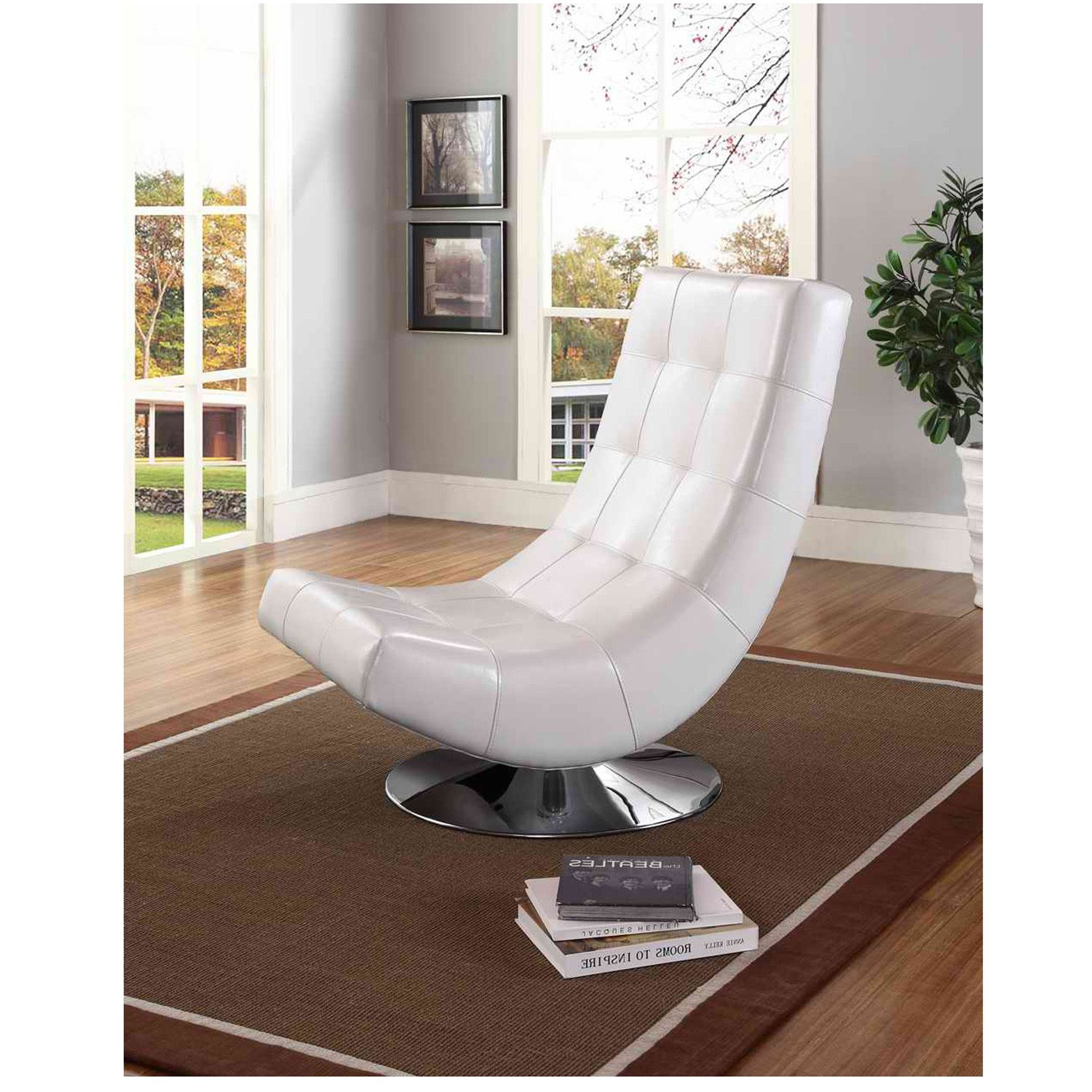 Best Modern White Pu Leather Accent Chair Upholstered Swivel 640 x 480