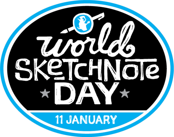World Sketchnote Day If you've never taken pencil, pen, crayon, marker to paper to doodle or sketch, (and maybe you haven't since you were a kid), Monday January 11, 2016 you are invited and encouraged to take some visual notes: it's WORLD SKETCHNOTE DAY. You don't need much; you can go digital with your finger or a stylus on an iPad, Samsung Note3, Microsoft Surface or play in Notebook on your Windows laptop. You can use the back of an envelope or the blank side of something you printed…