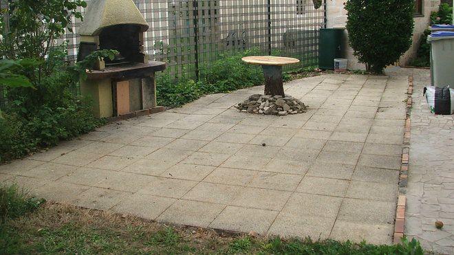 Pose de pavés en granit sur une terrasse Barbecues - pose dalle terrasse sur beton