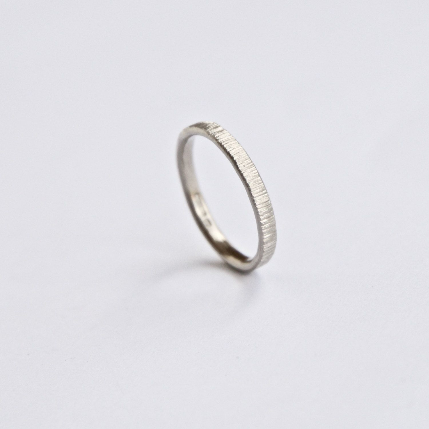 pin thin texture skinny band ring white gold bands sapphire hammered wedding