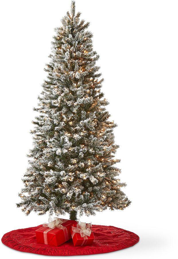 7 foot pre lit raleigh flocked christmas tree