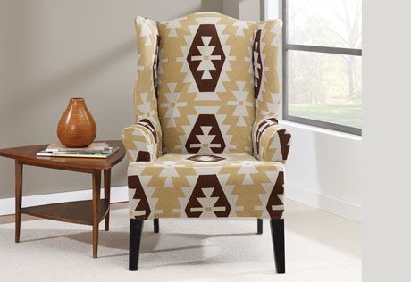 Photo Of Stretch Kilim Wing Chair Slipcover Southwestern
