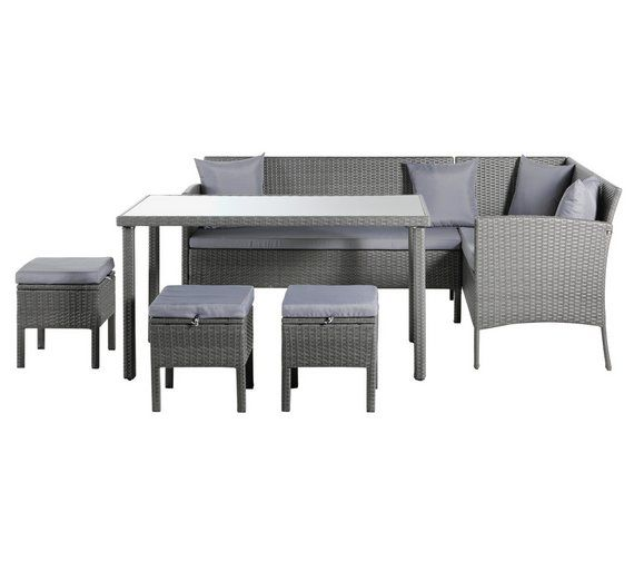 Buy Home 8 Seater Rattan Effect Corner Dining Set at Argos