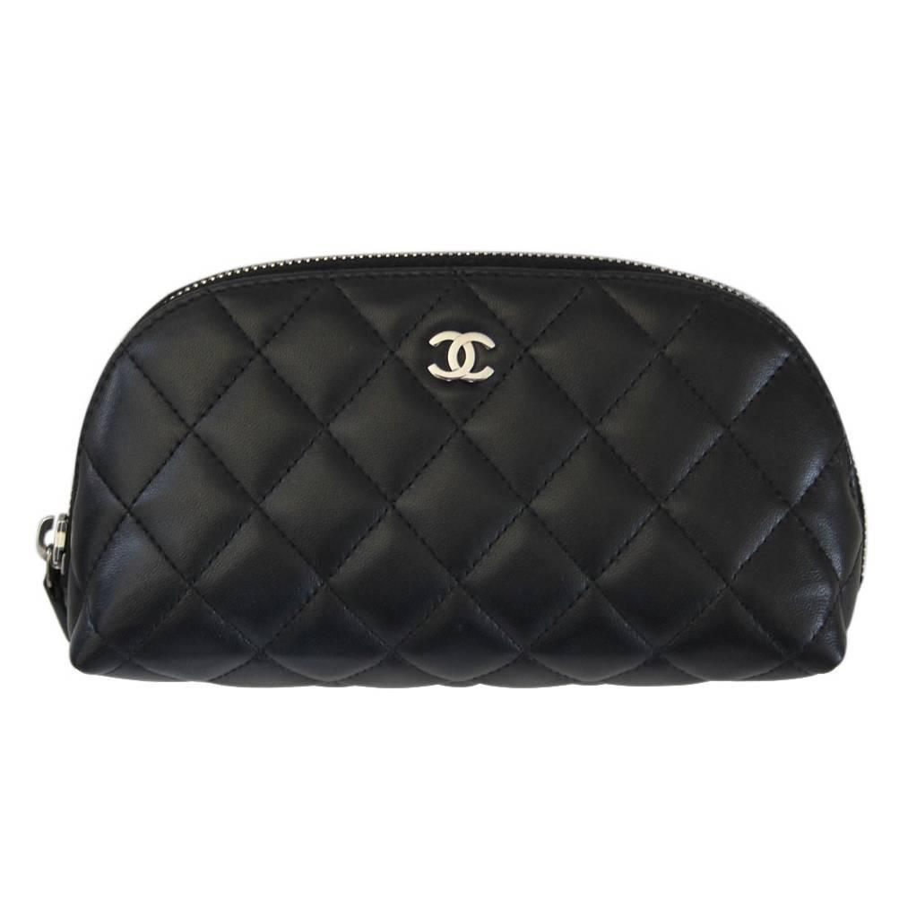 652b514f47f8 Chanel Lambskin Black Quilted SHW Small MakeUp Case No. 16 ...