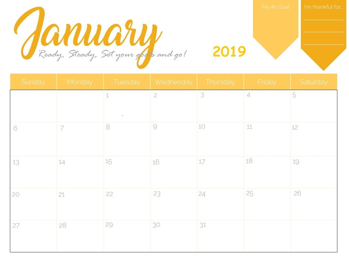January Calendar 2019 Template Free Printable 2019 January Calendar | Calendar 2018 | January