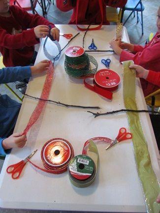 Ribbon Trees And Tying Knots In Prek Fun Preschool Crafts Fine Motor Skills Development Fine Motor Activities