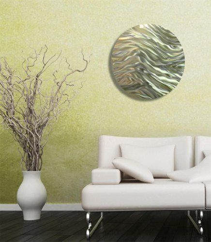 Modern Gold and Green Hand Etched Abstract Circle Metal Wall Art ...