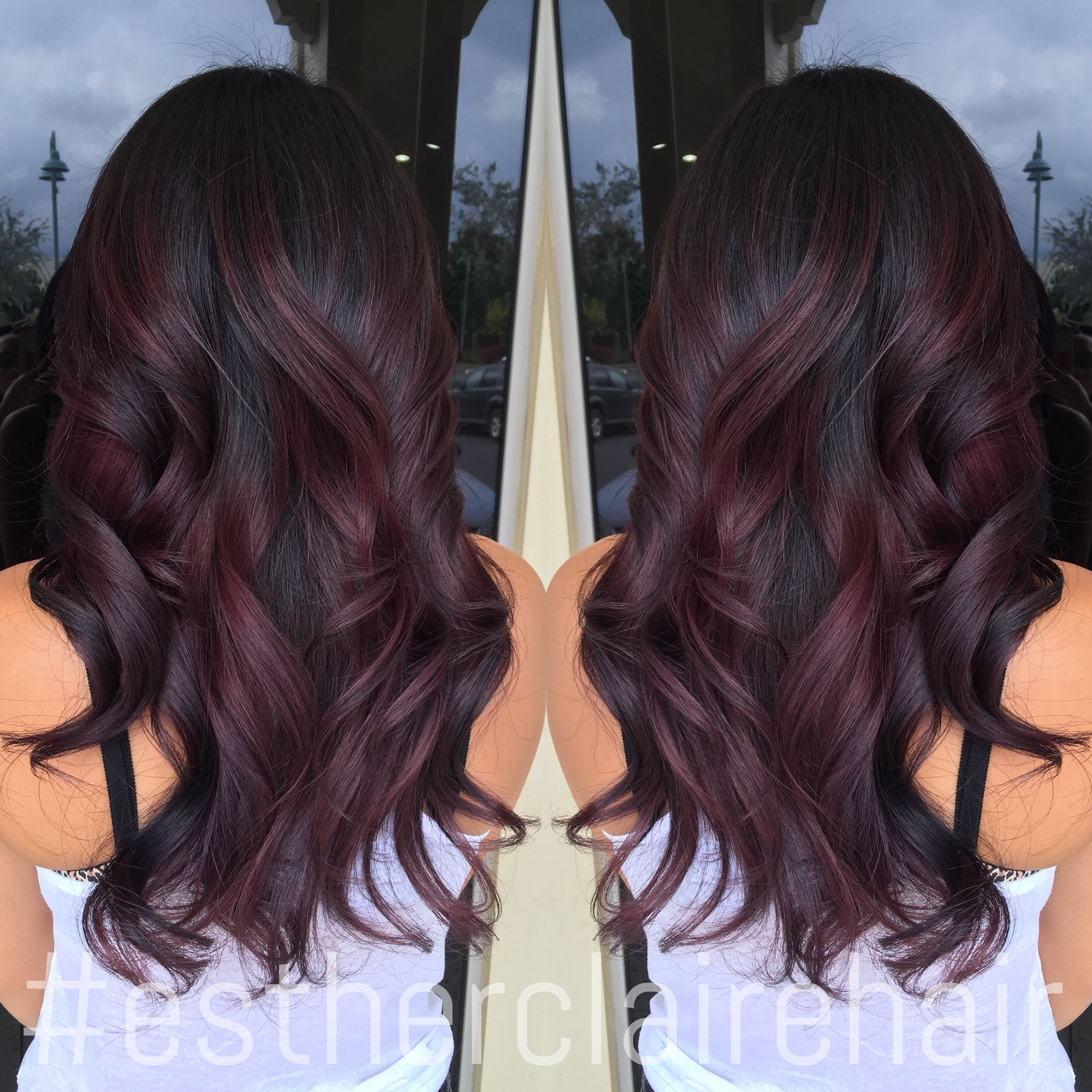 Fave Burgundy color balayage Need it lower tho and more at the