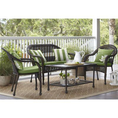 Garden Treasures Severson 4 Piece Conversation Set Cushions Pillows And Accessories Not Patio Chairspatio