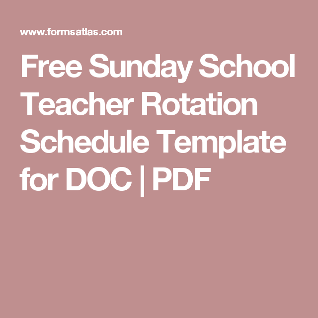 Free Sunday School Teacher Rotation Schedule Template for DOC ...