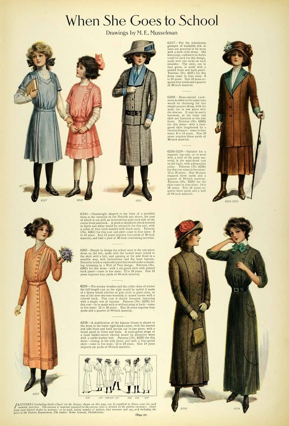 1911 Article Edwardian Fashion Children School Clothes -5974