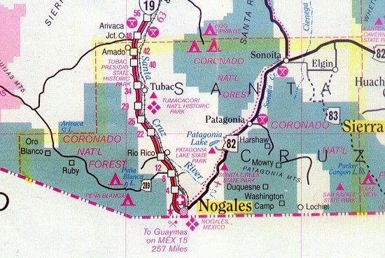 Map Of Elgin Arizona.Map Of The Santa Cruz County Arizona Santa Cruz County Arizona