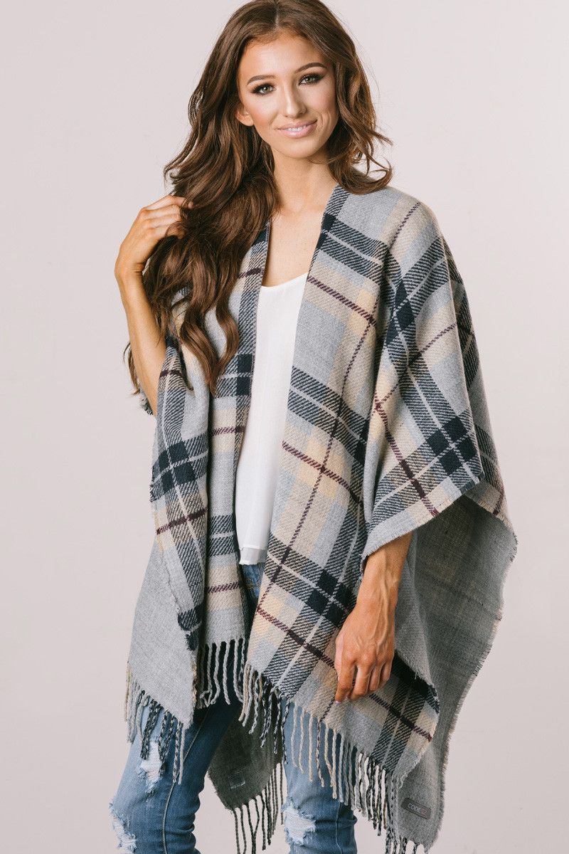 Cute Sweaters, Cute Cardigans – Morning Lavender, Plaid Ponchos ...