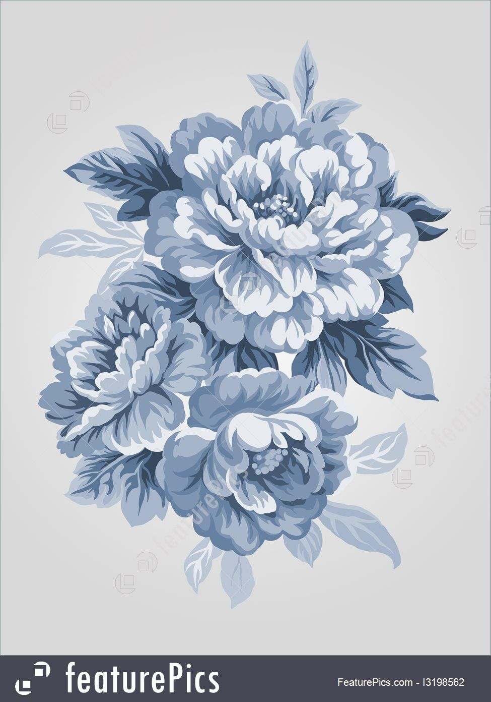 Painting Art Hand Drawn China Blue Peony Bouquet Simple