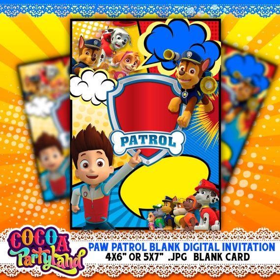 Paw Patrol Digital Printable Blank Invitation Jpg File