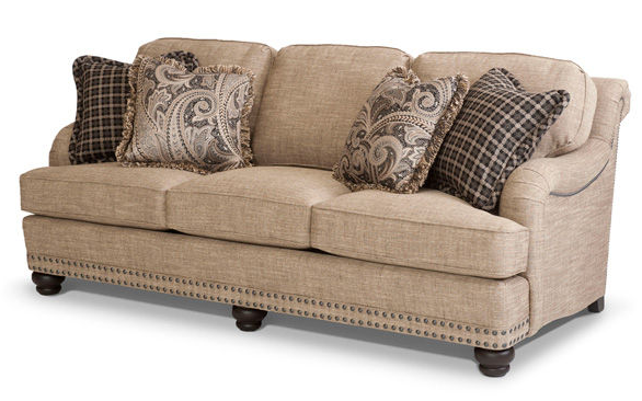 Smith Brothers Of Berne Sofa With Plaid And Large Print Pillows