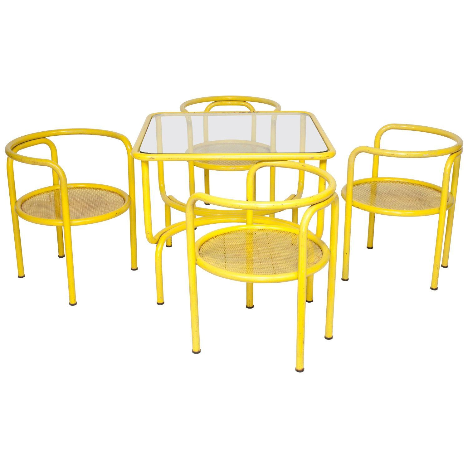 Yellow Metal Tubular Dining Table Set With Four Matching Chairs By Gae Aulenti Dining Table Setting Matching Chairs Dining Table