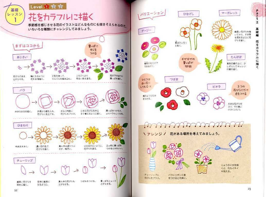 Japanese Book Cute Illustrations with Ball Point Pens