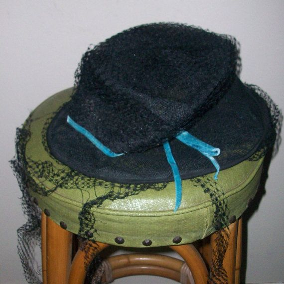 Vintage Schiapparelli Black & Blue Hat for by MICSJEWELSGALORE