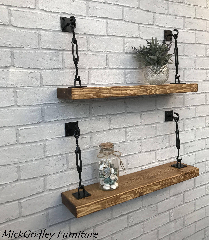 Rustic Bespoke Handmade Industrial Floating Shelves Solid Wood