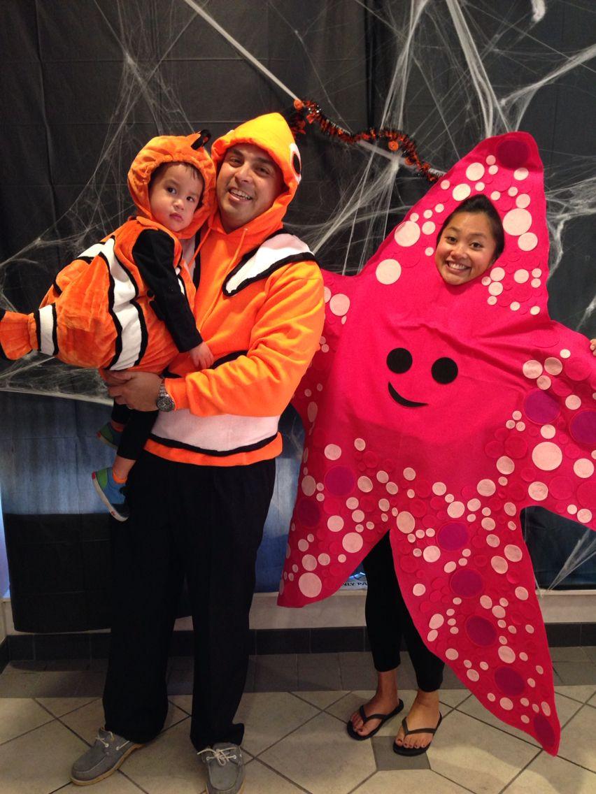 Finding Nemo Halloween costumes! #findingnemo #nemo #marlin #peach #starfish #family