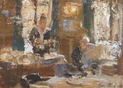 Voor de gasten | schilderij van een restaurant interieur in olieverf ...
