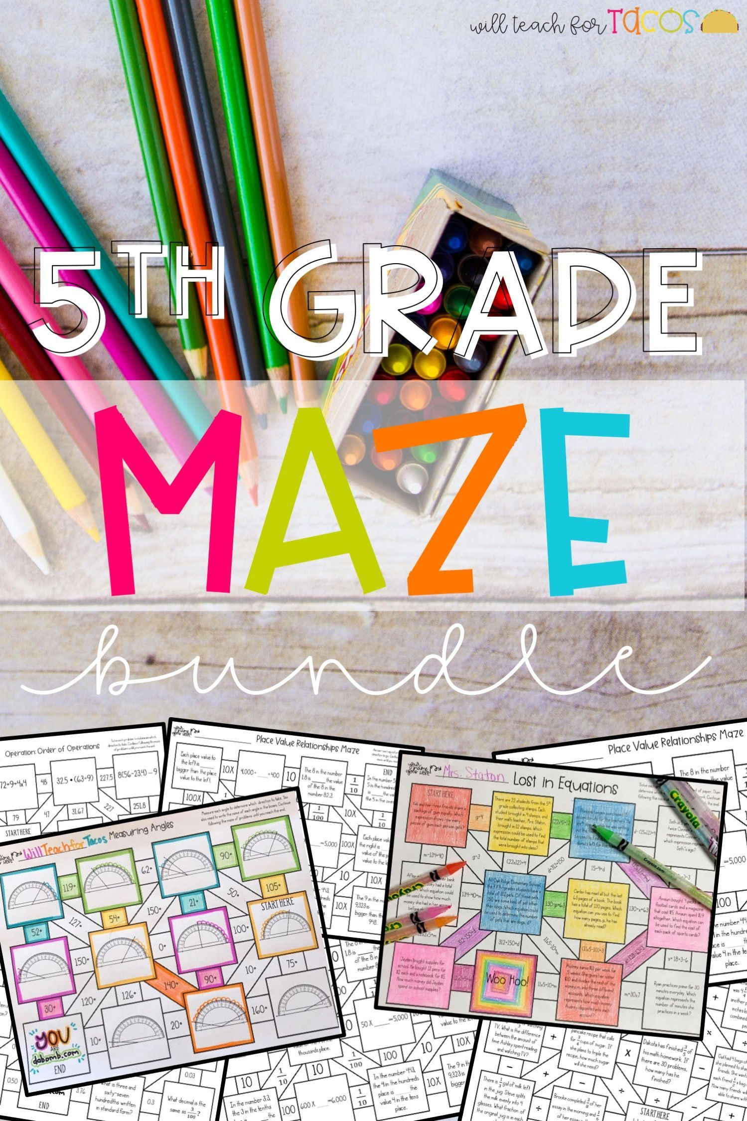 5th Grade Math Maze Bundle