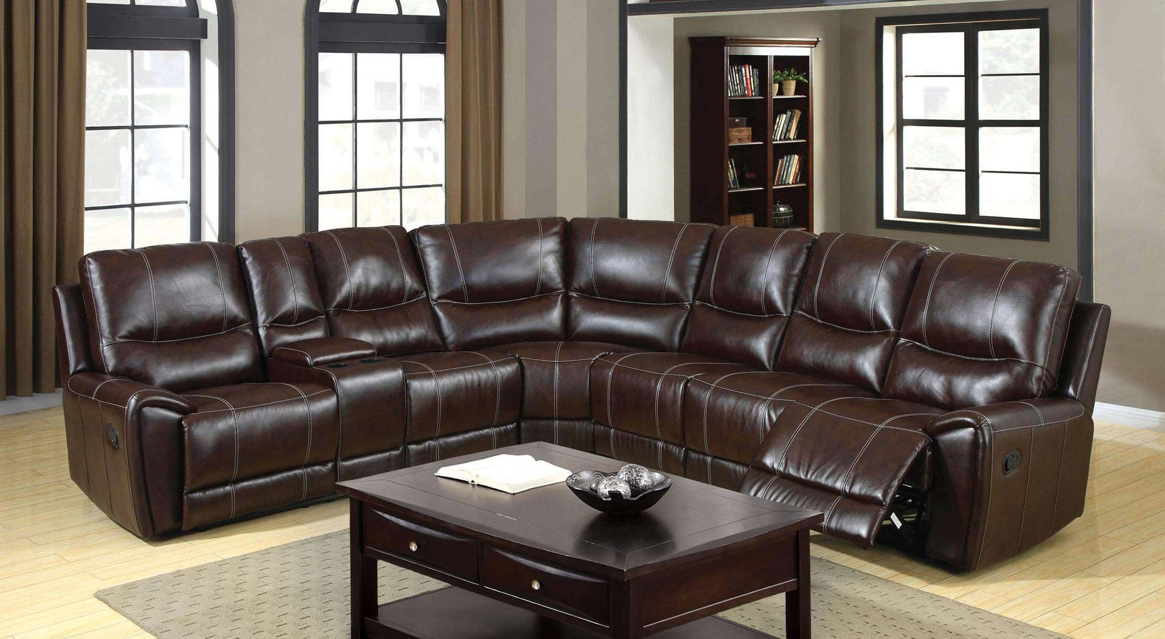 Keystone Cm6559 Brown Bonded Leather Match 3 Recliners Sectional
