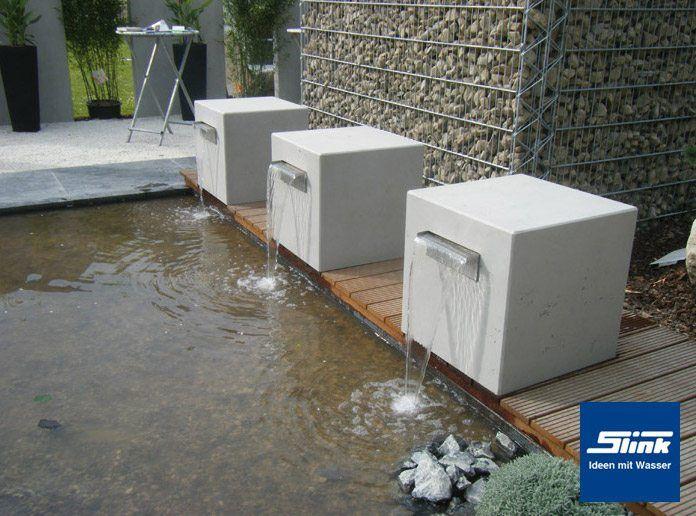 Garten-Wasserfall Beton-Kubus Gropius Pinterest - wasserfall selber bauen