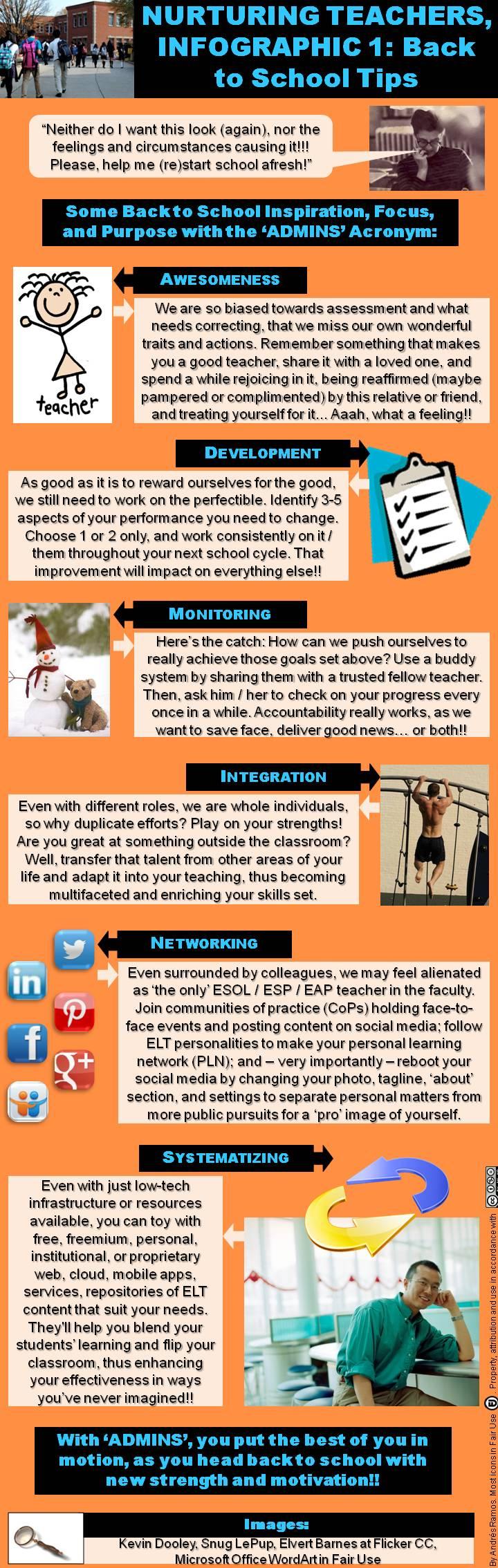 nurturing teachers infographic back to school tips let the nurturing teachers infographic 1 back to school tips let the admins acronym bring forth your best to start school afresh esol elt efl esl