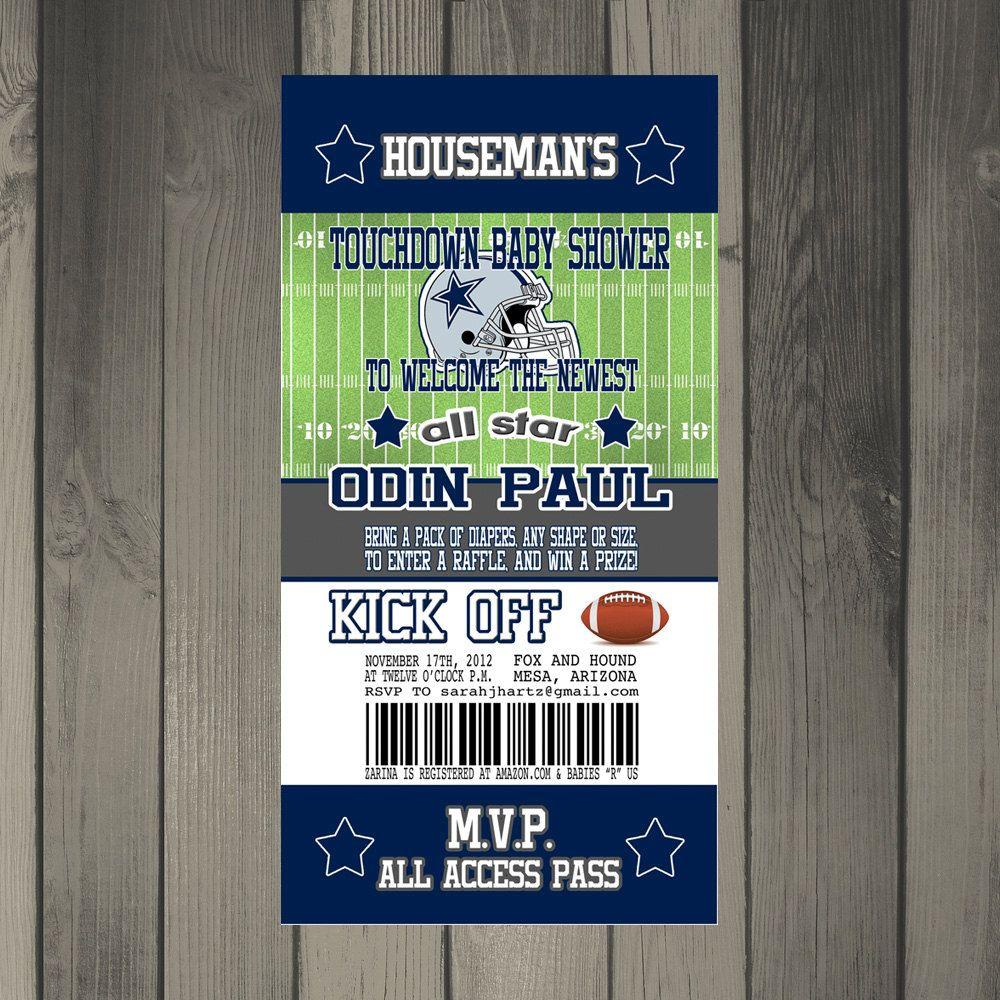 Dallas Cowboys Football Themed Baby Shower Invitation. $15.00, via ...