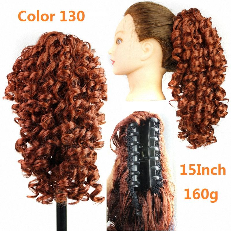 Drawstring Ponytails Hairpieces Curly Ponytail Synthetic Fake Hair Pieces Pony Tails Claw Clip Extensions
