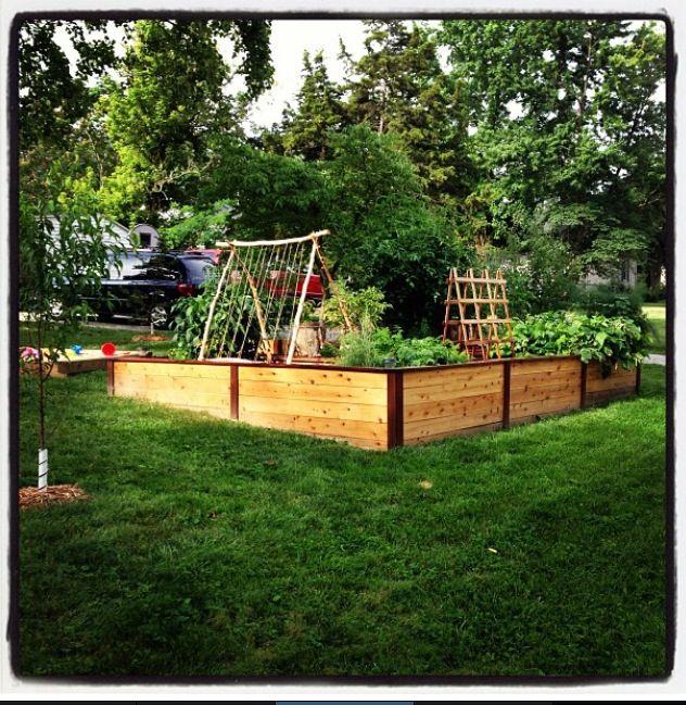 Raised bed garden using cedar fence boards w/ 4 x 4 corner