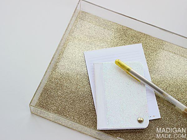 Acrylic Decorative Tray Acrylic Tray With Gold Glitter On The Bottom Easy Diy  Stop
