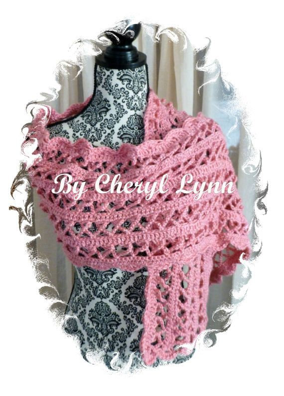 Pink breast cancer shawl, crocheted breast cancer scarf, pink ribbon ...