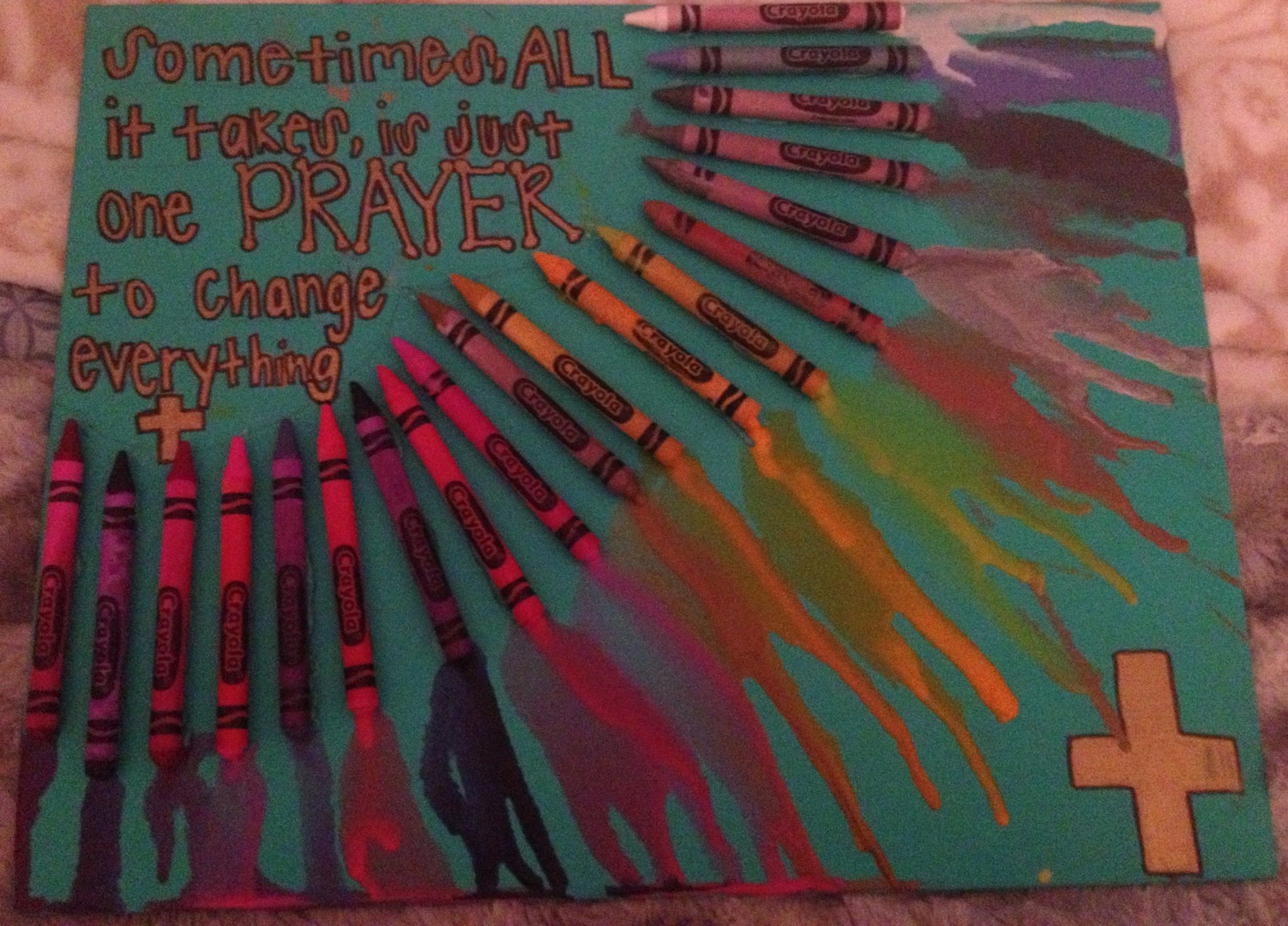 Melted crayon art with quote craft diy projects for Melted crayon art with quotes